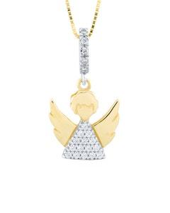Dije de Angel En Oro Blanco y Amarillo con Zirconias