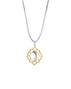 Medalla de Virgen con Cadena de Oro Blanco y Amarillo y Zirconia