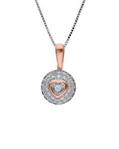 Dije de Oro Rosa con Cadena 14K con 15 Pts de Diamante (G-H) (Vs1-Vs2)
