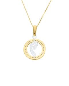 Dije de Oro Amarillo y Blanco de 14K con Zirconias y Cadena, Imagen Virgen