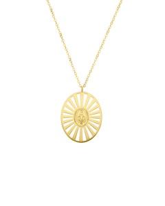 Medalla de Oro Amarillo con Cadena 14K