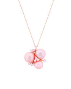 Dije de Oro Rosa con 14 Pts . de Diamante y Perlas Rosas