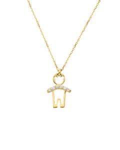 Dije de Oro Amarillo con Cadena 14K con 3 Pts de Diamante