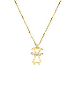 Dije de Oro Amarillo con Cadena 14K con 2 Pts de Diamante