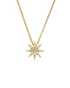 Dije con Cadena de Oro Amarillo 14K 7 Pts de Diamante