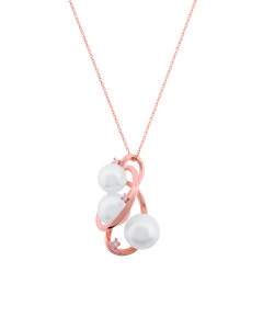 Dije de Oro Rosa con 3 Pts . de Diamante y Perlas