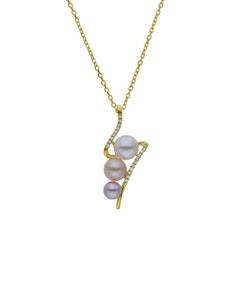 Dije con Cadena de Oro Amarillo 14K con 10 Pts de Diamante y Perlas de Color (G-H, S-I)