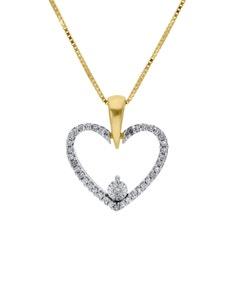 Dije con Cadena de Oro Amarillo 14K con Platinado y 10 Pts de Diamante
