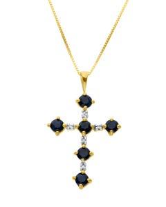 Dije De Cruz De Oro Amarillo Con Cadena 14k Con 2pts De Diamante Y Zafiro Negro(H-I) (I1 - I2)