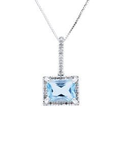 Dije de Oro Blanco con Cadena 14K con 10 Pts de Diamante y Topacio Azul