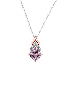 Dije de Oro Rosa 14K con Cadena y 1Pto de Diamante (H-I) (I1-I2) con Zafiro