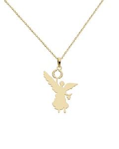 Dije de Oro Amarillo Angel de La Independencia con Cadena 14K