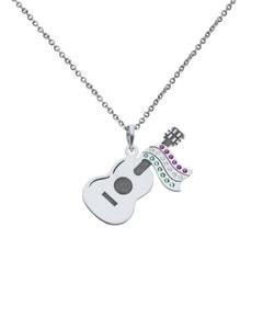 Dije de Oro Blanco Guitarra México con Cadena 14K con Zirconias de Color
