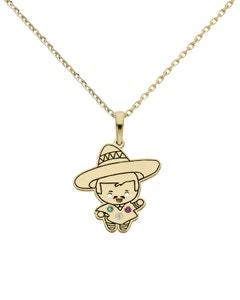 Dije de Oro Amarillo México con Cadena 14K con Zirconias de Color