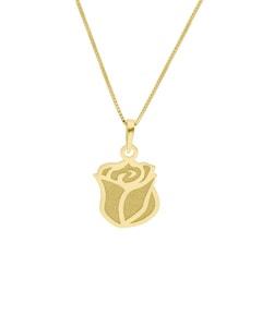 Dije de Rosa de Oro Amarillo de 14K con Cadena