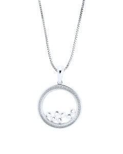 Dije de Oro Blanco con Cadena con 15 Pts de Diamante