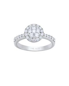 Anillo de Oro Blanco 14K con 66Pts de Diamante