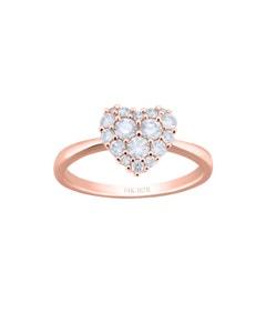 Anillo de Compromiso de Oro Rosa 14K con 50 Puntos de Diamantes