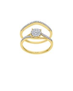 Duo de Anillos de Oro Amarillo 14K con 23Pts de Diamante (G-H) (Vs1-Vs2)