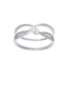 Duo de Anillos de Oro Blanco 14K con 20Pts de Diamante (H) (Si2)