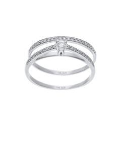 Duo de Anillos de Oro Blanco 14K 27Pts de Diamante (H) (Si2)