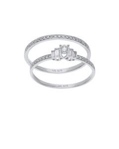 Duo de Anillos de Oro Blanco 14K con 34Pts de Diamante (H) (Si2)