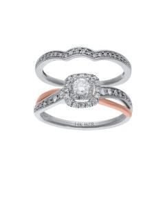 Duo de Anillos de Oro Rosa y Blanco 14K con 50 Pts de Diamante (H-J, Vs1-Vs2)