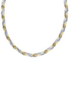Gargantilla de Oro Amarillo Y Blanco 14k