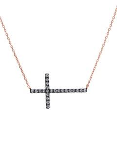 Gargantilla de Oro Rosa 14K con 20Pts de Diamante Cafe (G-H) (Vs1-Vs2)