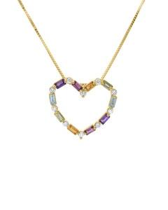 Dije de Oro Amarillo con Cadena 14K con 9Pts de Diamante (Baguette) y Piedras de Color (G-H, I1-I2)