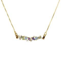 Gargantilla de Oro Amarillo 14K con 11 Pts de Diamante y Piedras de Color (G-H, I1-I2)