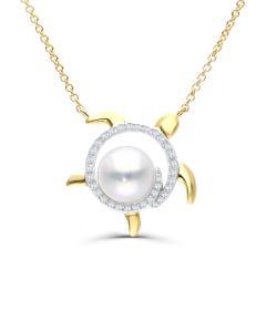 Gargantilla De Oro Amarillo 14K Con 8Pts De Diamante (G-H) (Vs1-Vs2) Con Perla