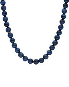 Gargantilla con Aplicaciones de Acero para Caballero 55 cm con Piedra de Ojo de Tigre Azul