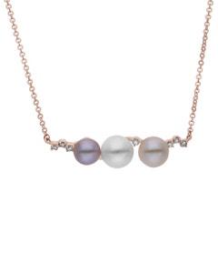 Gargantilla de Oro Rosa 14K con 14 Pts de Diamante y Perlas de Color (G-H, S-I)