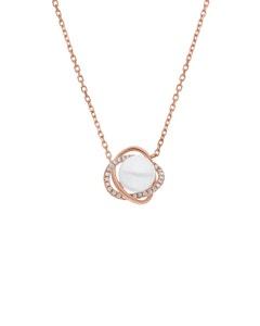 Gargantilla de Oro Rosa 14K con 11 Pts de Diamante y Perla (G-H, S-I)
