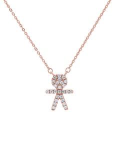 Gargantilla de Oro Rosa 14K con 9 Pts de Diamante