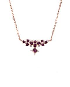 Gargantilla de Oro Rosa 14K con 11 Pts de Diamante y Rubi (G-H, S-I)