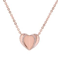 Gargantilla de Oro Rosa 14K con 17 Pts de Diamante