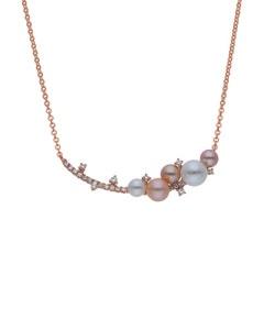 Gargantilla de Oro Rosa 14K con 19 Pts de Diamante y Perlas de Color (G-H, S-I)