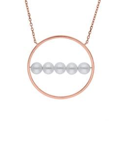 Gargantilla de Oro Rosa 14K con 10 Pts de Diamante y Perlas (G-H, S-I)