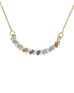 Gargantilla de Oro Amarillo 14K con 16 Pts de Diamante y Piedras de Color (G-H, I1-I2)