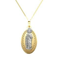 Medalla Oro 14K Amarillo Y Blanco San Judas Tadeo