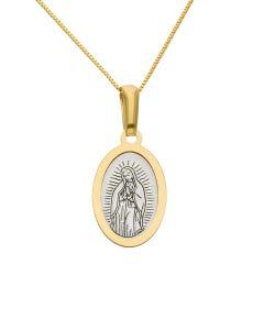 Medalla Oro 14K Amarillo Y Blanco Virgen De Guadalupe