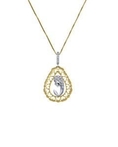 Medalla de Oro Blanco y Amarillo con Cadena 14K con Zirconia