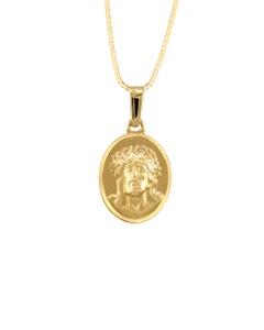 Medalla Imagen Divino Rostro En Oro Amarillo