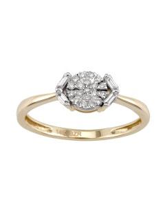 Anillo de Oro Amarillo con 16 Puntos de Diamante