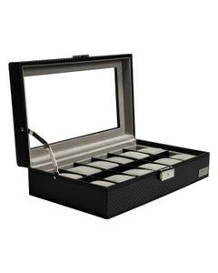 Estuche Para 12 Relojes En Tipo Fibra De Carbono Interior Gamuza Y Cerradura De Llave