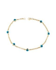 Pulsera de Oro Amarillo 14K Conojitos Azules