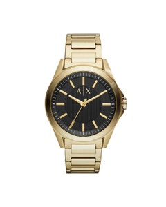 Reloj Armani Exchange para Caballero Extensible Acero Dorado Caratula Negro Analogo