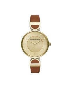 Reloj Armani Exchange para Dama,Correa Piel Café,Caratula Dorado,Analogo